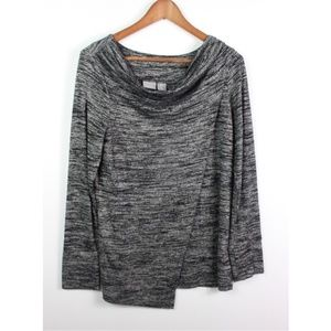 Kenar Knit Top Draped Marled Gray Long Sleeve